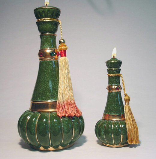 FUSAN Genie of CHARM Ceramic Oil Lamp Large 6 inch #2001 green - I dream of Jeannie lamp