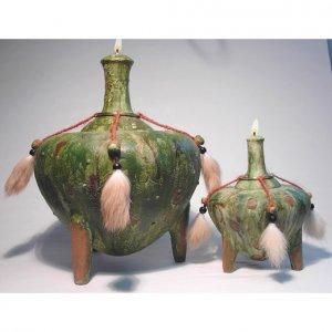 SEZER Genie of WISDOM Ceramic Oil Lamp Large 10 inch #2603