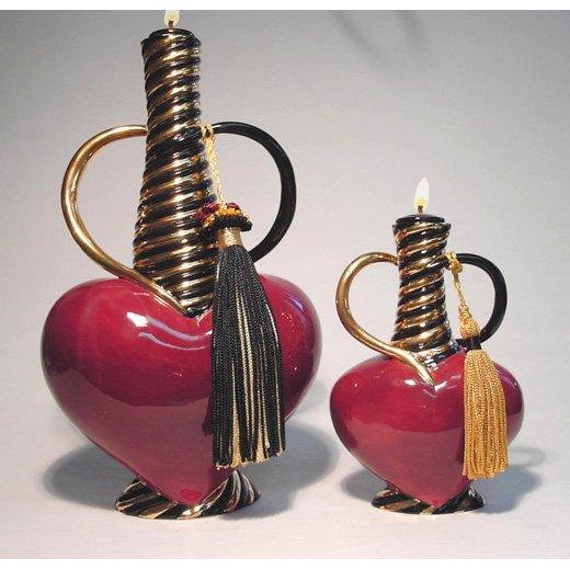 SEVDA Genie of LOVE Ceramic Oil Lamp Large 10 inch #2605 DK RED -- 3 Wishes FREE