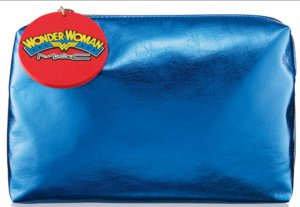 MAC WONDER WOMAN Blue Foil Makeup BAG AUTHENTIC