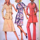 70's Vintage Sewing Pattern 2496 2 Pc Belted Tunic Top Dress Cuffed Pants Plus Size B 38 Hippie