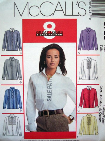 Uncut 2002 McCall's 8 Great Easy Shirts Blouse Top 8 10 12 14 Uncut Sewing Pattern 3723