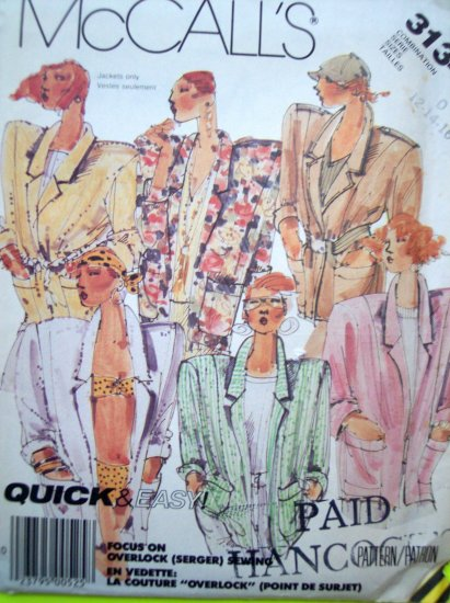 Uncut 80's Vintage Unlined Jacket B 34 36 38 BIG Bold Shoulder Pad Blazer Sewing Pattern 3134