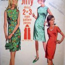 60's Vintage Sewing Pattern Mod Slim Day Dress B 32 Sz 12 Easy Jiffy Simplicity Retro 7010