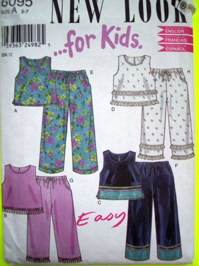 Girls 2 3 4 5 6 7 T Pants & Midriff Sun Top Lace & Fringe Capri Pants New Look Sewing Pattern 6095