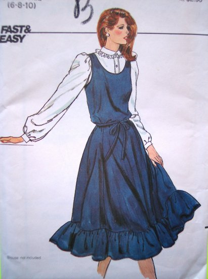 70's Vintage Easy Sundress Jumper Ruffle Hem Retro Sun Dress Tie Belt Butterick Sewing Pattern 4205