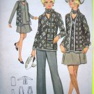 1970s Vintage B 36 Skirt Jacket Top Pants Scarf Retro Suit Butterick Sewing Pattern 5474