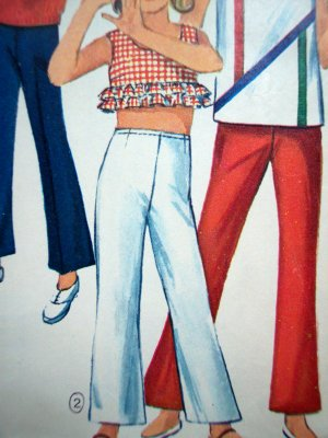 Vintage 60s Girls 12 Midriff Ruffled Top Bell Bottom Pants Retro Sewing Pattern 6472