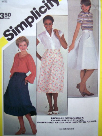 80's Back Wrap Skirt Ruffle & A line 10 12 14 Vintage Easy Simplicity Sewing Pattern 6366