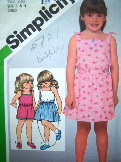 80's Vintage Sewing Pattern Girls 3 4 T Sun Shoulder Tie Romper Mock Wrap Skirt Toddlers # 5121