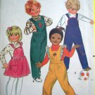 70&#39;s Vintage Infant Toddlers Sz 1 Overalls & Jumper Dress Butterick Sewing Pattern 3447