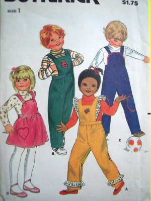 70's Vintage Infant Toddlers Sz 1 Overalls & Jumper Dress Butterick Sewing Pattern 3447