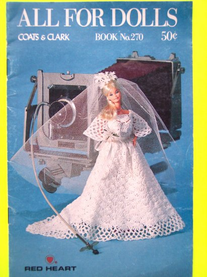 "70's Vintage Coats & Clark All For Dolls Crochet Barbie Ken & 13"" Doll Crocheting Clothes Patterns"