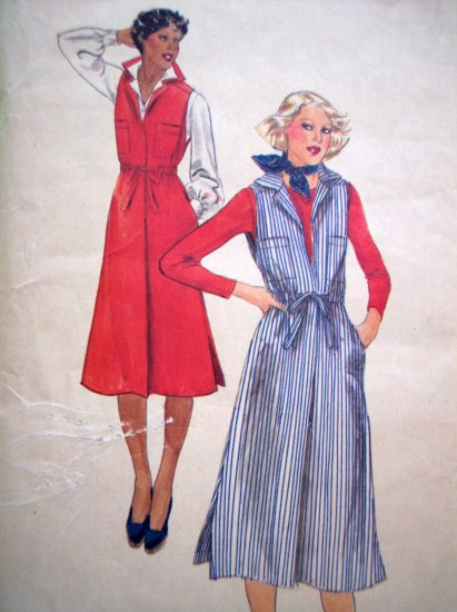 70s Vintage Jumper Dress Pointed Collar Drawstring Belt B 32.5 Sz 10 Butterick Sewing Pattern 5521