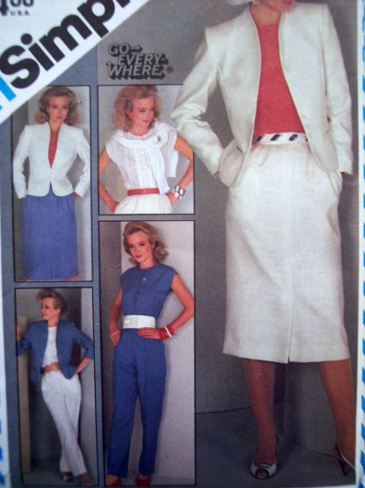 Uncut 80's Skirt Lined Jacket Pants Suit Go Everywhere Vintage Sewing Patterns 6272