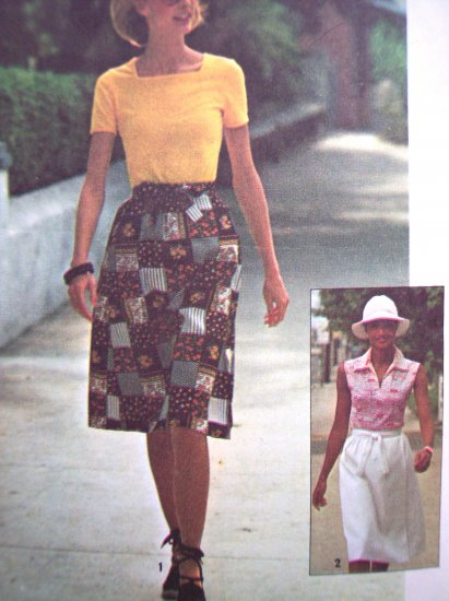 70's Vintage Sewing Pattern Sz 12 14 Wrap Skirt Shirt Boho Easy Simplicity Jiffy 7451