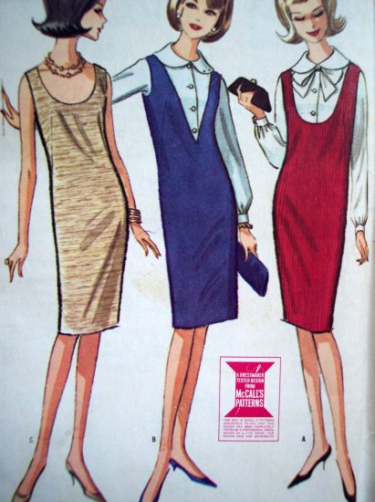60s Vintage Sewing Pattern Skinny Jumper Dress Sundress Deep V Oval Scoop Neck Mod 7354
