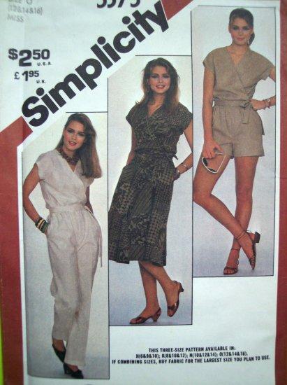80's Vintage Sewing Pattern Wrap Top Pants Shorts Skirt 2 Pc Dress Sz 12 14 16 Easy Simplicity 5375