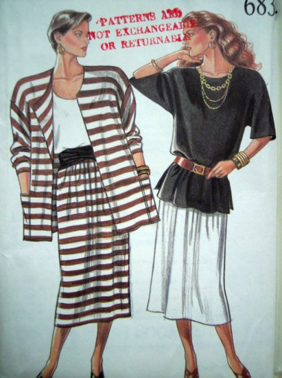 80's Vintage Sewing Pattern Tunic Top Skirt Unlined Jacket Suit 8 10 12 14 16 18 New Look 6834