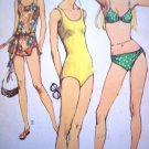 70s Vintage Bikini 1 2 Pc Swimsuits Cover Up Bathing Swimming Suit B 31.5 Sewing Pattern 9321