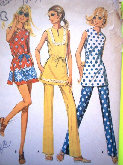 70s Vintage Sewing Pattern Tunic Side Vent Seams Top Shorts Pants B 36 McCall's Hippie 2417