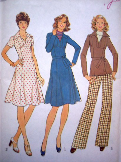70s Vintage Sewing Pattern Princess Seam Dress V Neck Tunic Top Pants B 32.5 Pantsuit Retro 7177