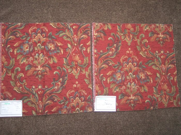 2 New Duralee Russett Floral Vines Tapestry Fabric Panels Remnants Swatches Upholstery Tapestries
