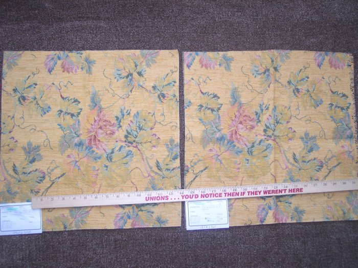 2 New Duralee Gold Large Floral Pattern Tapestry Fabric Panels Remnants Woven Tapestries