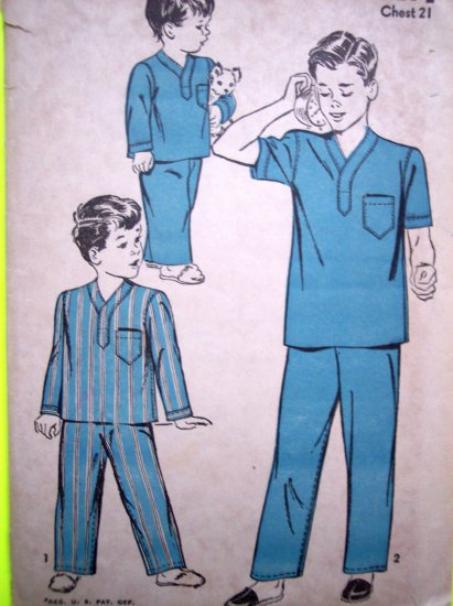 40s Boys Girls 2 T Pajamas Dr Nurse Scrub Shirt Pants Halloween Costume Vintage Sewing Pattern 4190