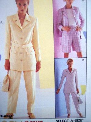 Uncut Sewing Pattern 8612 Lined - Unlined Jacket Belt Shorts Pants Safari Suit Sz 10 12 14