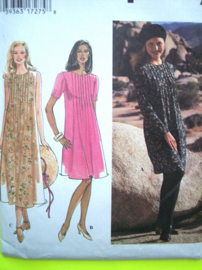 90s New Flared Dress Jewel Neck Bodice Tucks 12 14 16 Simplicity Sewing Pattern 9801