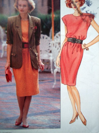 90s Leslie Fay Designer Dress Suit Elbow Length Sleeve Jacket 8 10 12 Butterick Sewing Pattern 4701