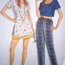 90s Easy Side Slit Tunic Crop Midriff Top Drawstring Tie Waist Shorts Pants New Sewing Pattern 6339
