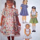 Girls Sz 1 2 3 T Empire Flared Sun DRESS Sundress Short Sleeves or Sleeveless Sewing Pattern 8637