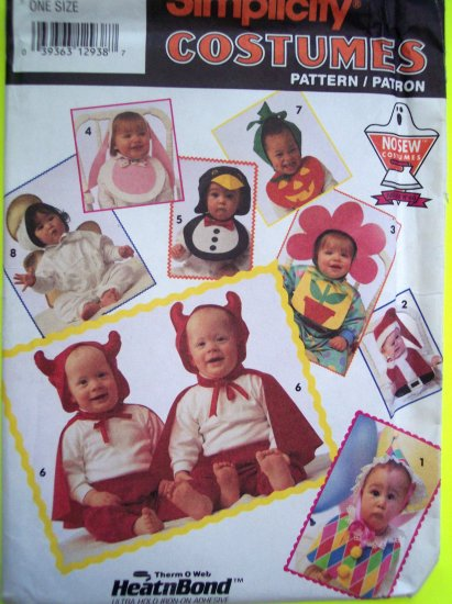 Infants NO Sew Halloween Costume Pattern Bunny Rabbit Devil Flower Santa Clown Angel Penguin 7988