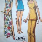 70s Vintage Sewing Pattern Side Slit Maxi Sun Dress Tunic Mini Top Sundress Pants Shorts B 32 # 9362