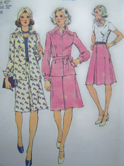 70s Vintage Sewing Pattern Knit Bodice Dress Shirt Jacket Plus Size Bust 40 Retro Simplicity 6152