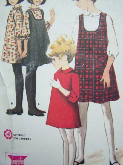 60s Vintage Girls A Line Ruffle 3/4 Sleeve Dress & Scoop Neck Jumper Sz 12 Sewing Pattern 7986