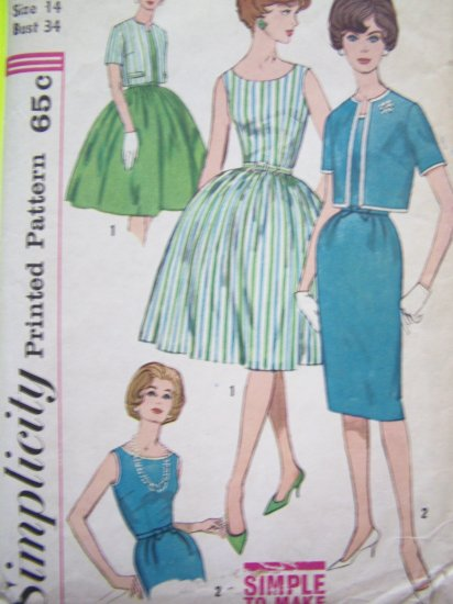 60s Vintage Sun Dress Full & Slim Pencil Skirt SunDress Bolero Jacket B 34 Retro Sewing Pattern 3929