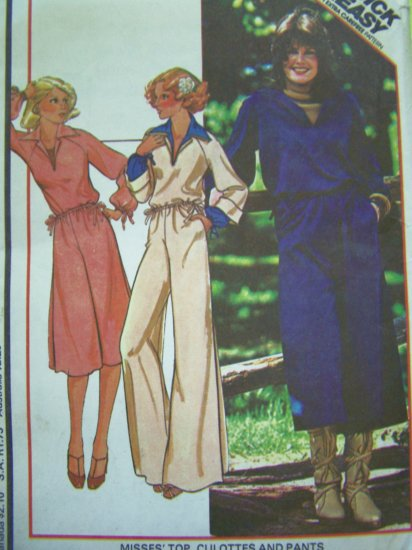 70's Vintage B 40 42 Pullover Top Wide Leg Gauchos Culottes Pants Plus Size Sewing Pattern 5732