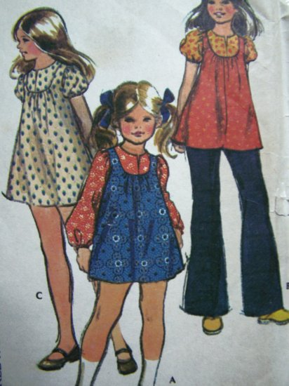 70s Vintage Sewing Pattern Girls BabyDoll Tent Dress Smock Top Puff Short/Long Sleeve Hippie 3696