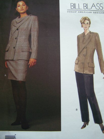90s Vogue Sz 12 14 16 Designer Bill Blass Button Overlay Jacket Slim Skirt Suit Sewing Pattern 1458