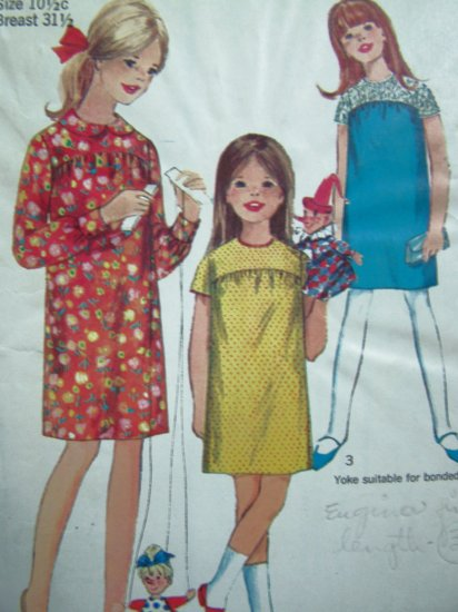 1960's Vintage Girls Dress Plus Size 10.5 Peter Pan or Collarless Long/Short Slv Sewing Pattern 6859