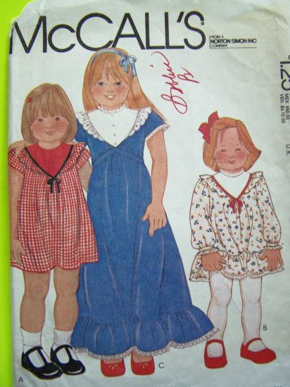 1970's Girls 3 T Dress Ruffle Top & Hem Short or Maxi Gown Length Vintage Sewing Pattern 6832