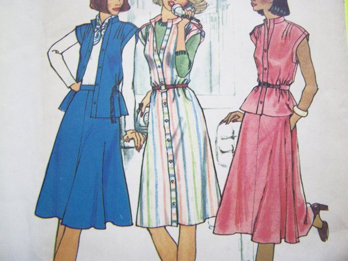 70's Dress Stand UP Collar  Cap Sleeve Top Skirt B 32.5 Vintage Sewing Pattern 7350
