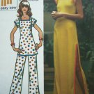 70's Vintage Hippie Tunic Top Sexy Slit Patio Dress Pants B 38 Plus Size Retro Sewing Pattern 5667