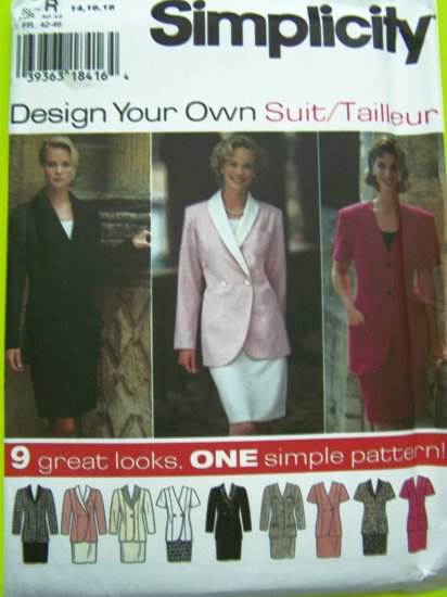 9 Styles Design A Suit Slim Skirt Single/Double Breasted Jacket Sz 14 16 18 DIY Sewing Pattern 9878