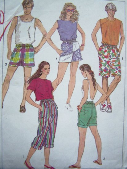 80s JAMS 3 Lengths Shorts Misses Mens Boys Large Capri Pants Vintage Sewing Pattern 7501