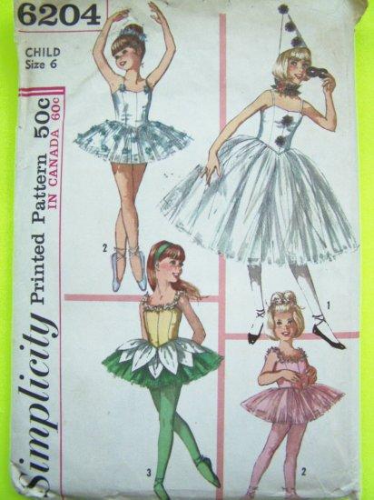 Girls Vintage Sz 6 Ballet Skating Dance Fairy Princess Halloween Costume Sewing Pattern 6204