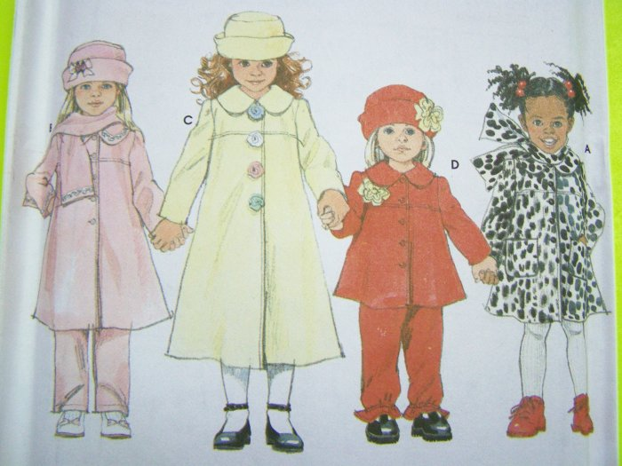 Girls 2 3 4 T Sewing Pattern A Line Coat Car Jacket Winter Pants Hat Scarf Toddler XMas 4833